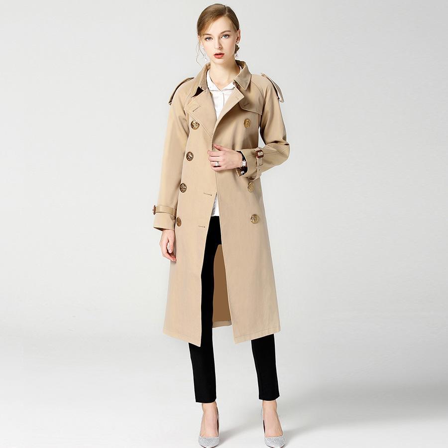 best service ccfb6 a0ab6 # 3333Autumn langer Mantel-dünner eleganter formaler  Windbreaker-kakifarbiger Trenchcoat für Frauen-England-Art Zweireiher hohe  Qualität