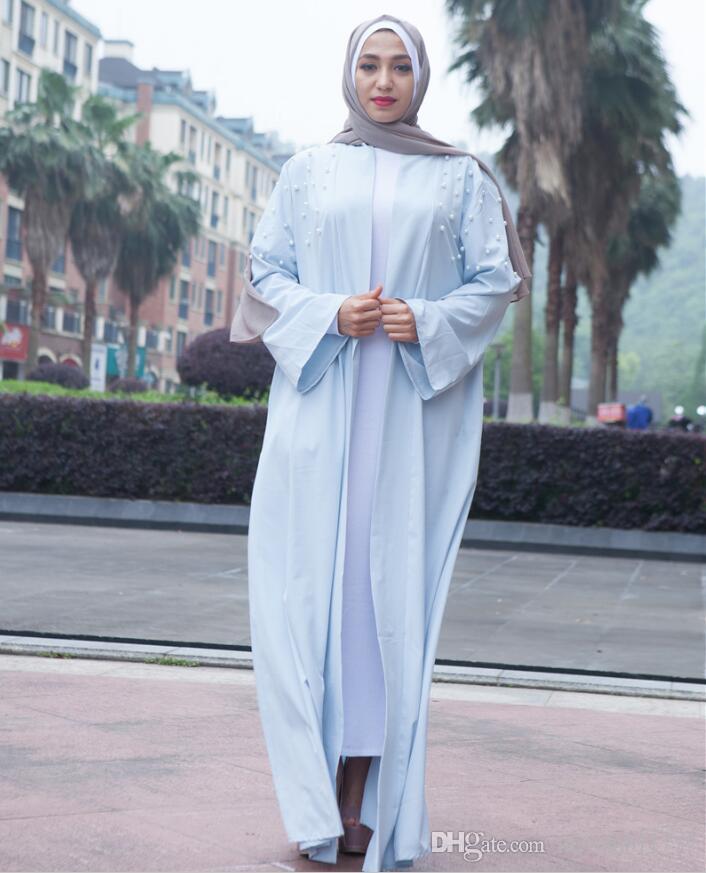 Damen Kleidung Perlenstickerei Patch Designs Muslimische Strickjacke Abaya Islamisches Maxikleid Mittlerer Osten Kaftan Türkischer Bademantel Kimono