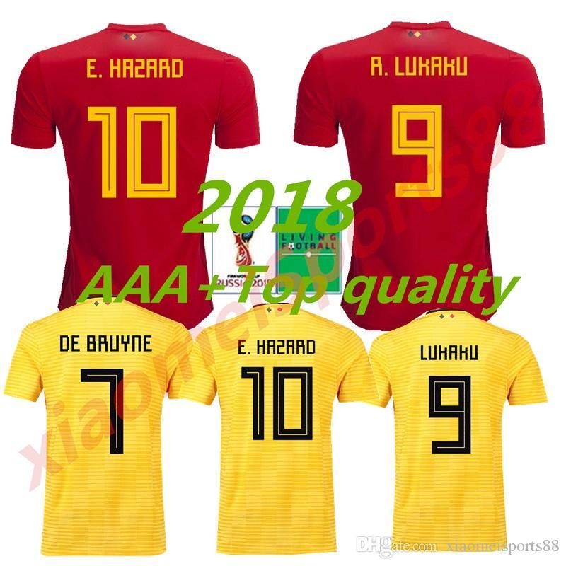 5df8fad81 2019 2018 World Cup Belgium Soccer Jerseys Home Red LUKAKU FELLAINI E.HAZARD  KOMPANY DE BRUYNE Belgian Football Shirt Football Uniform Size S XL From ...