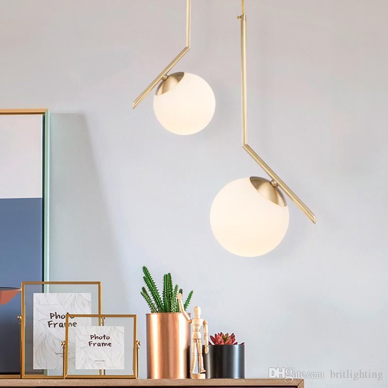 Modern Gold Pendant Light Bar Restaurant Spherical Hanging Lamps ...