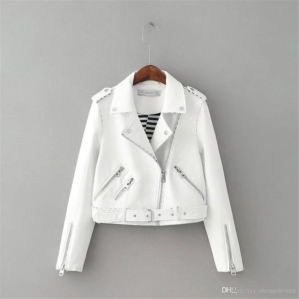 Veste Moto Rose Acheter Automne Zipper Faux Cuir Femmes Blanc wxYqSP8I