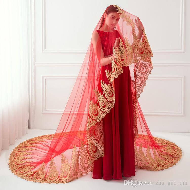 Red White Ivory Real Photo Luxury Gold Lace Embroidery long 3.5*3m Bridal Veils 2018 Elegant Tulle Bridal Wedding Accessories