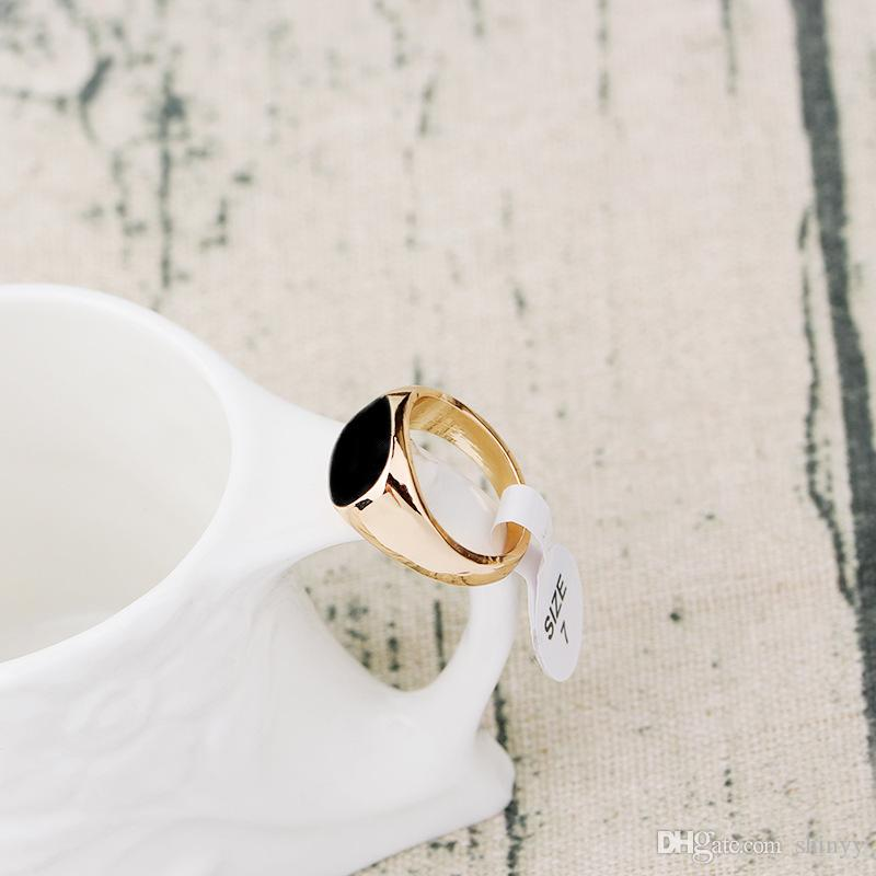 Mode Männer Ring Punk Schwarzer Emaille Ring Gold Silber 7-12 Größe Ringe Schmuck Für Geschenk Heißer