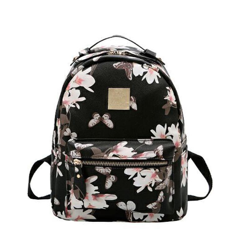 54330f5a26a3 Women Leather Backpack Flower Floral Backpacks For Teenage Girls Small  Printing Backpack Female Schoolbag Rucksacks For Girls Rucksack Jansport  Backpacks ...