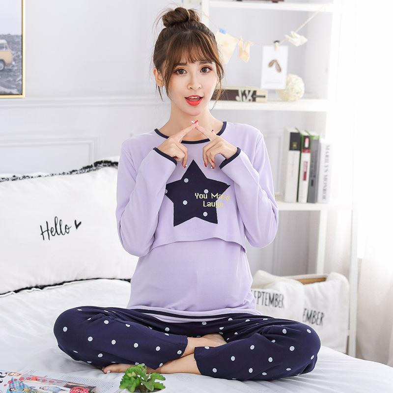 887460e30a34f 2019 Maternity Nursing Pajamas Set Soft Comfortable Breastfeeding Sleepwear  Maternity Pajama Nightgown From Breenca, $43.56 | DHgate.Com