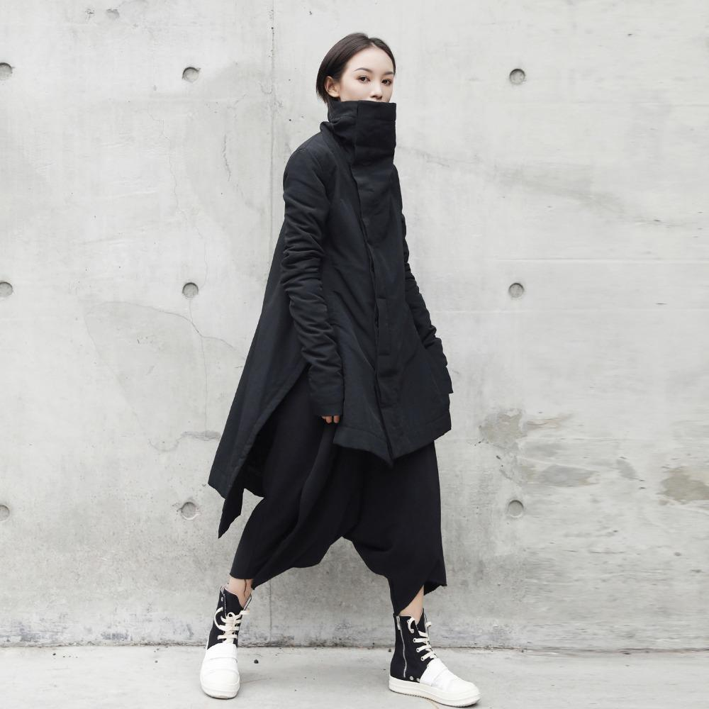 5893b72baa496 Cakucool New Dark Black Women Mid Long Parka Coon Liner Asymmetric Slim  Winter Coats Stand Collar Slit Outerwear Parkas Female