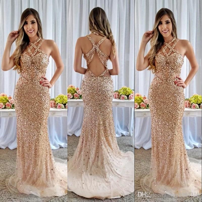 Champagne Crystal Mermaid Prom Dresses Luxury Sparkly Rhinestone Beaded  Backless Long Party Dress Custom Made Cutaway Evening Dress Gowns Vintage  Lace Prom ... e9030f85b1e7