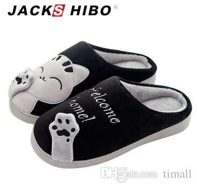 6388d185b8bbd3 Acheter Jackshibo Hommes Pantoufles Chat Motif Hiver Accueil Pantoufles  Avec Talon Plat En Peluche Mâle Pantoufle Chaud Intérieur Glisser  Chaussures Zapatos ...