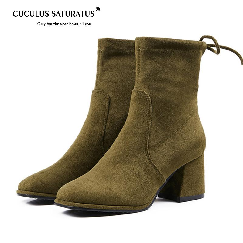 f6c3499085e Compre Cuculus Square Toe Botines Mujer Tacones Med Block 2018 Otoño Botas  Mujer Zapatos Mujer Mariposa Nudo Zapatos Mujer 1699 A  49.53 Del Rosetree  ...