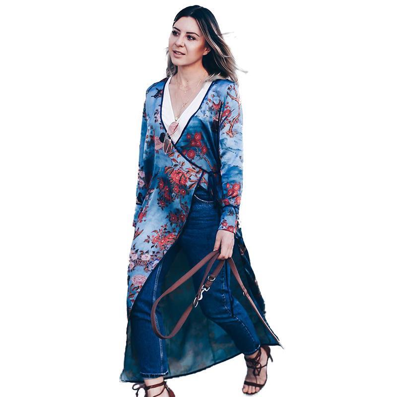 63b71162c36a Vintage mujeres más el tamaño Kimono Floral Bird Print V cuello atado  étnica oriental prendas de vestir exteriores encubrir Cardigan Casual  camisa ...