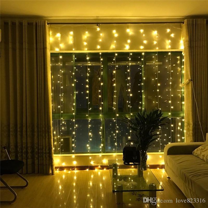 US LED String Fairy Light Curtain Window Bedroom Xmas Wedding Party Decor Lamp