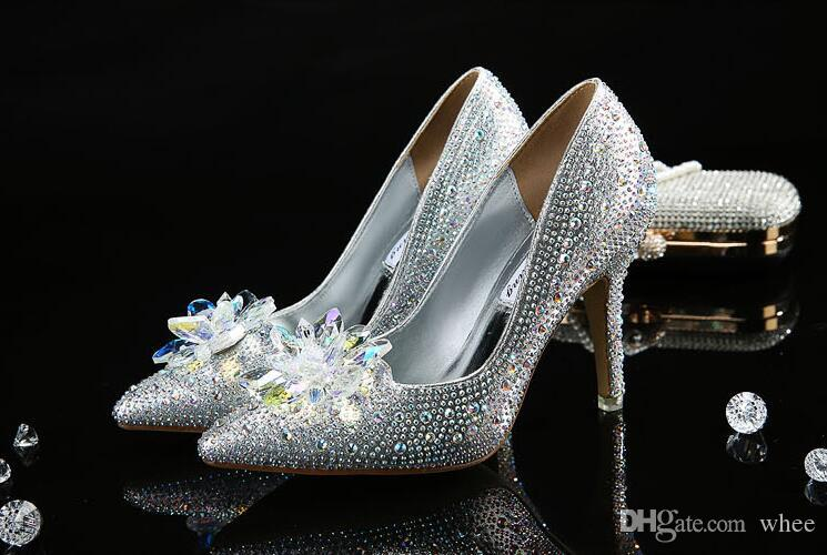 2018 New fashion sexy women dress shoes high heels Cinderella Glass slipper pumps red silver Wedding shoes party shoes 53