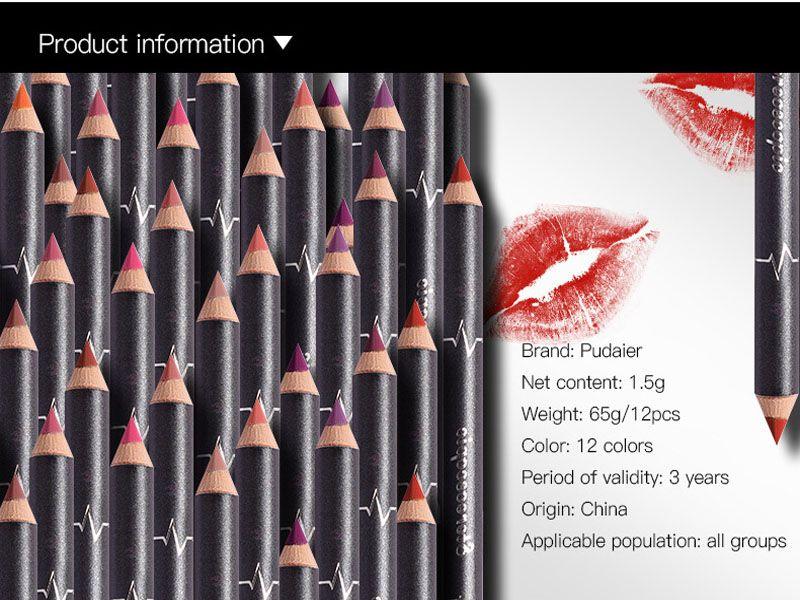 Make-up Schönheit Pudaier 12 farben kit Lipliner Bleistift Kit Wasserdichte langlebige Kontur Lip Liner Pen Nude Lip Bleistifte Kosmetik