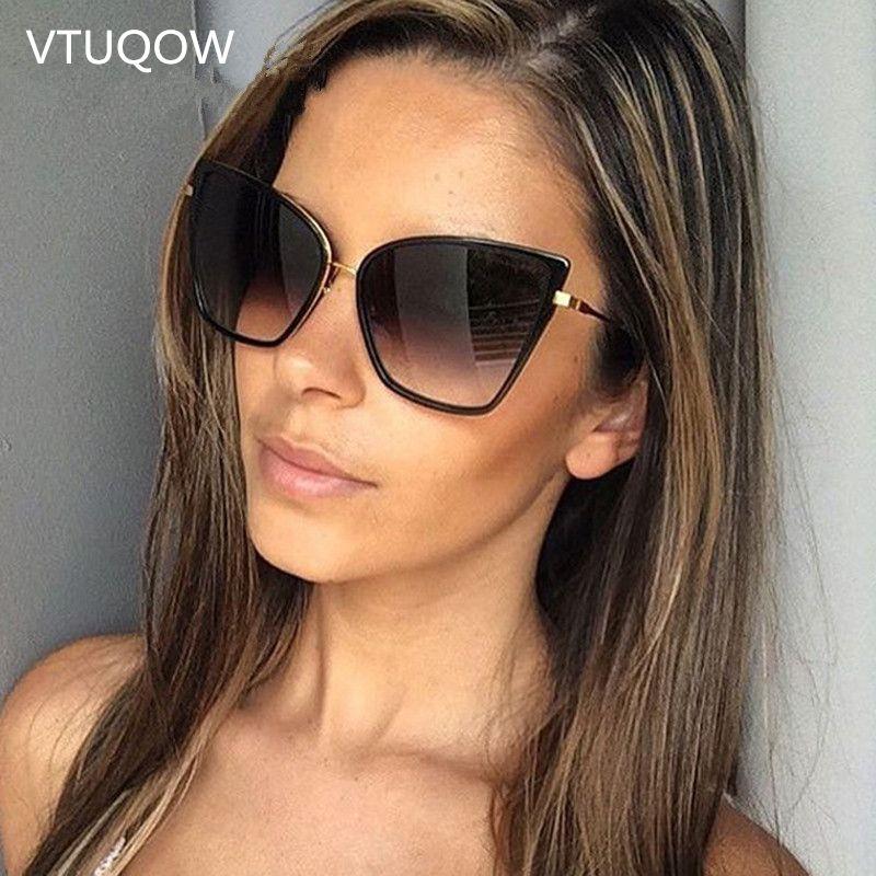 c0c3a9f19535c Compre 2019 Luxo Cat Eye Sunglasses Mulheres Marca Designer De Óculos De Sol  Lente De Óculos De Sol Retro Feminino Óculos De Sol Para As Mulheres  Eyewear De ...