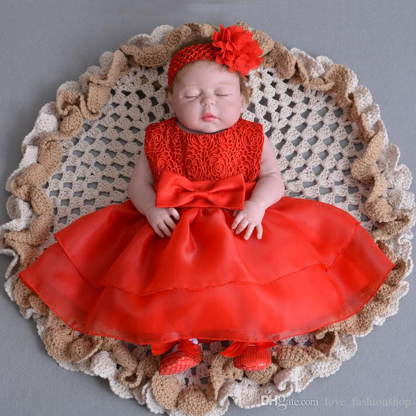 2019 Baby Girls Big Bow Lace Christening Dresses With Headband Christmas  Infant Toddler Red Girls Pageant Flower Prom Dress Baptism Wedding From ... 81556da0dc06
