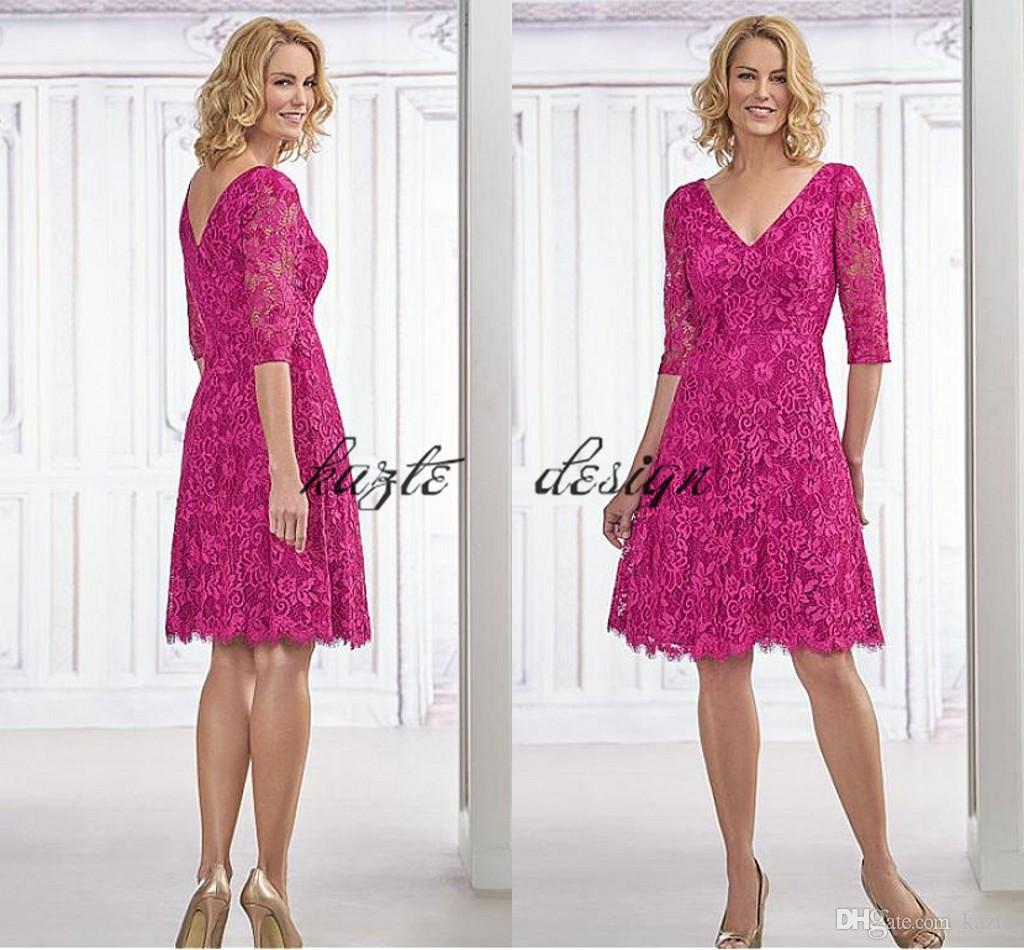 2018 Hot Pink Short Mothers Formal Wear Gown Fabulous Lace V Neck