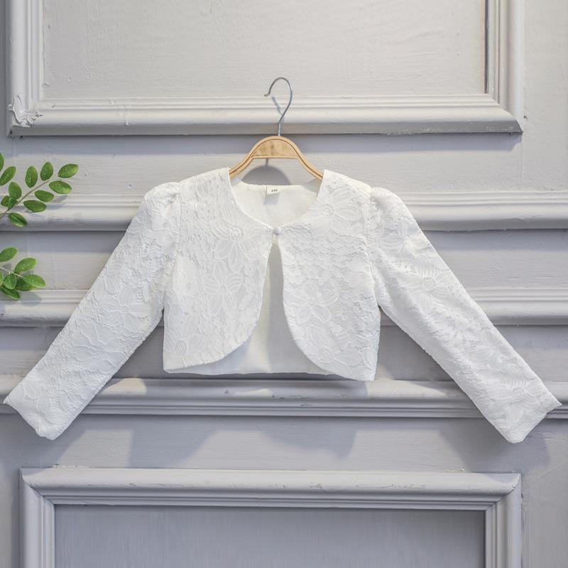 Compre Niños Niñas Encaje Cardigan Baby Long Sleeves Crochet Bolero ...
