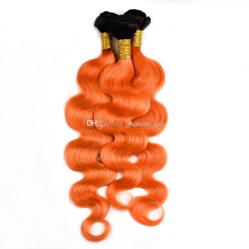 montón de Brasil sobre nuevos productos Ombre Naranja Naranja Cabello humano 1B pelo de la Virgen brasileña paquetes la onda del cuerpo de dos tonos 300g extensión del pelo