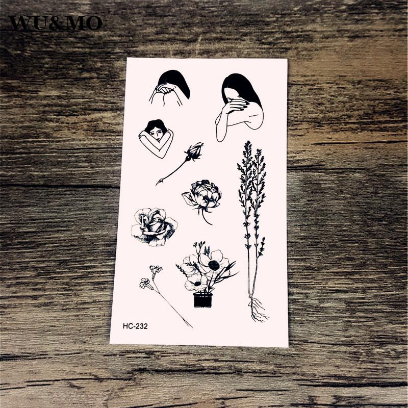 ae606fc19 HC 232 Crying Girl Flower Tree Body Art Sexy Harajuku Waterproof Temporary  Tattoo For Man Woman Henna Fake Flash Tattoo Stickers Tattoos For Women  Butterfly ...