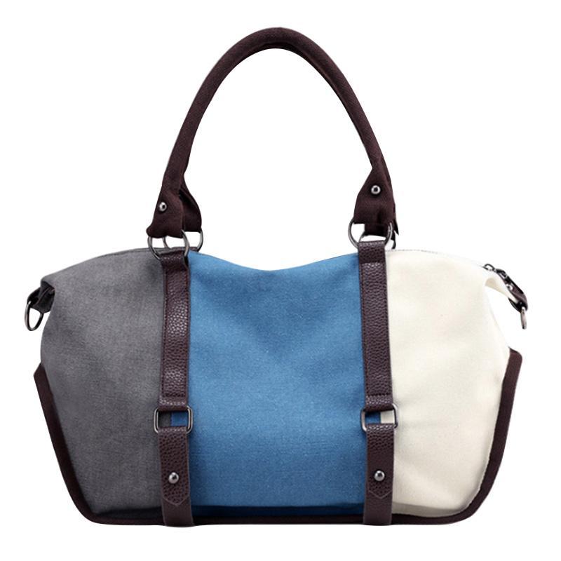 512f8a685ca9 2018 Newly Canvas Bag Women Handbags Splicing Color Retro Style ...