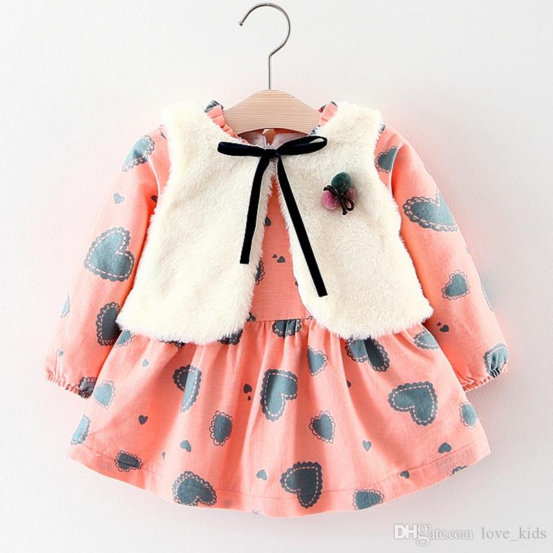 142ff30fc 2019 Brand New Autumn Winter Wear Girls Baby Clothes Floral Long Sleeved  Plus Velvet Dress + Fur Vest Girls Suit Clothing Sets From Love kids