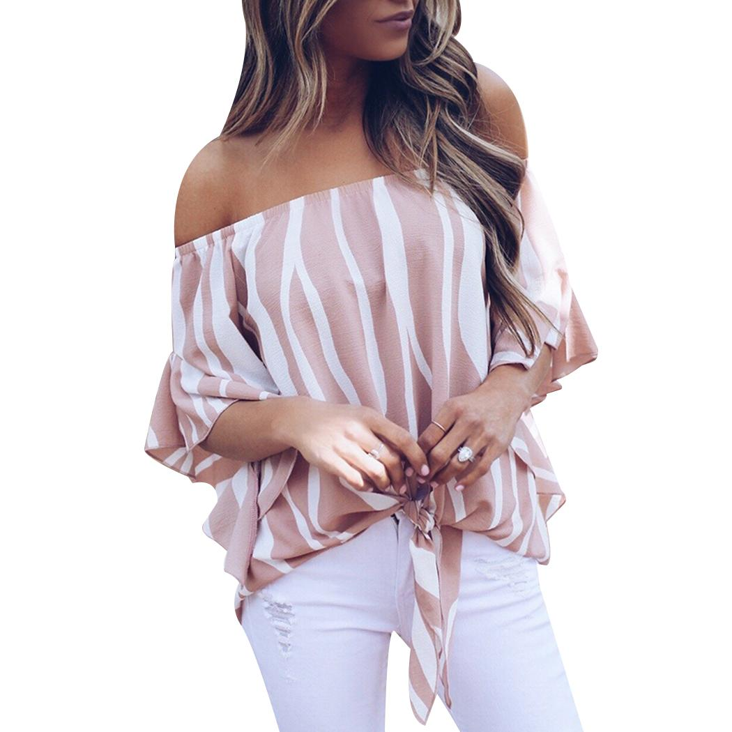 de347d70436a17 2019 Elegant Women Striped Off Shoulder Blouse Shirts Chiffon Sexy Waist  Tie 2018 Flare Sleeve Tops Slash Neck Ladies Loose Blusas From Z6241163