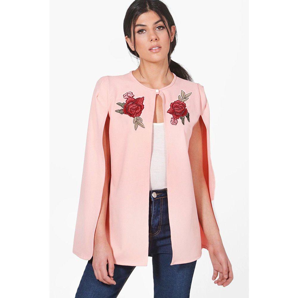 Frauen-Mantel Jacken Rose Stickerei Weibliche eleganter Schal Design Frühling Neue Mäntel Lady Kleidung