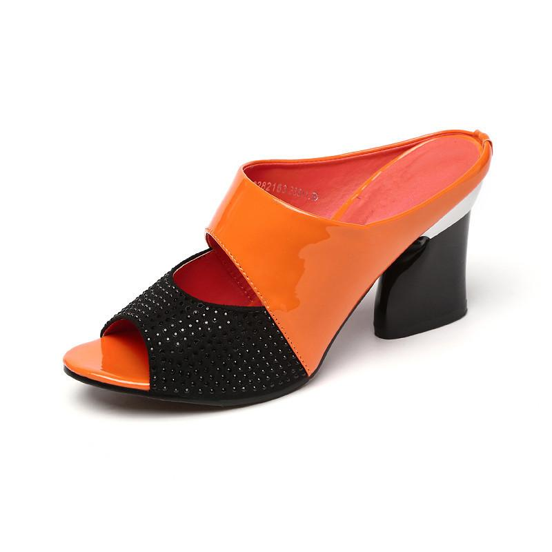 629266516e5 2018 Hot Sale Women Patent Leather Slippers Rhinestone Slides Thick High  Heeled Sandals Women Open Toe Ladies Summer Slippers Zapatos Mujer Shoe Sale  Suede ...