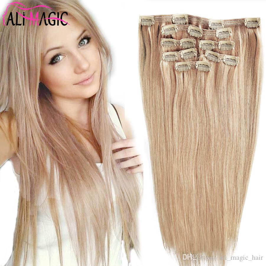 Clip In Hair Extensions Remy Strawberry Blonde Hair Color Clip