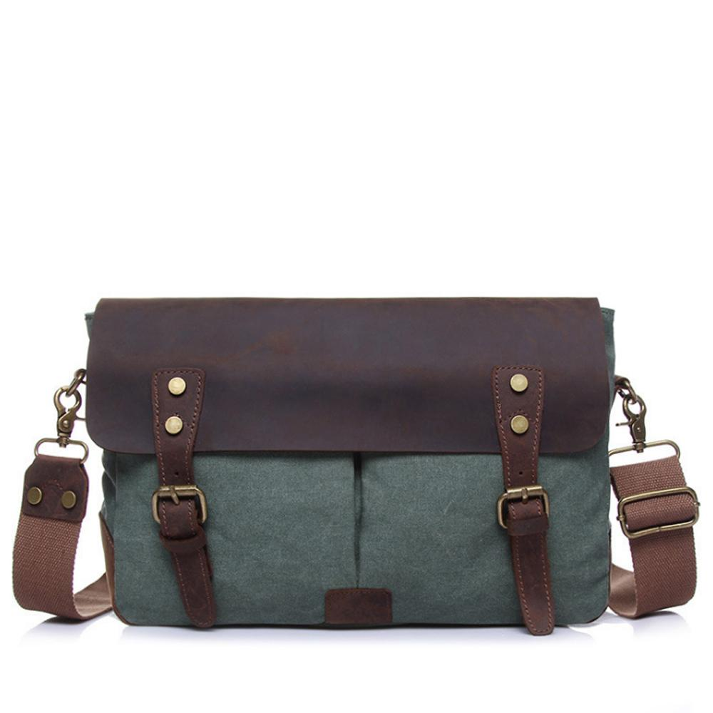 cab403e0b1e1 Retro Men s Single Shoulder Bag Fashion Canvas Bag Multi Function Travel  Inclined Shoulder Big Capacity Trend Satchel Leather Bags For Women Clutch  Purses ...