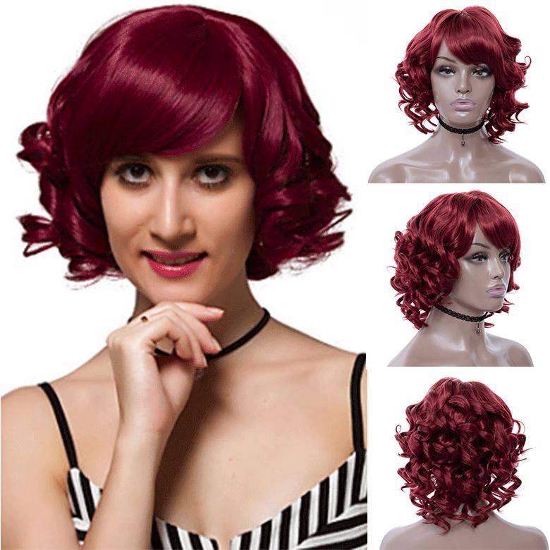 Wine Red Short Bob Curly Hair Cheap Side Bang Chemical Headgear Dyed Partial Short Fiber Burgundy Wig
