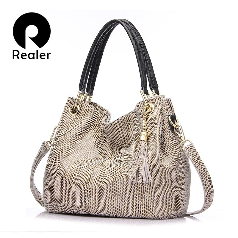 016404cbafe9 Realer Woman Handbag Genuine Leather Brand Bag Female Hobos Shoulder Bags  High Quality Leather Totes Women Messenger Bag Leather Briefcase Wholesale  ...