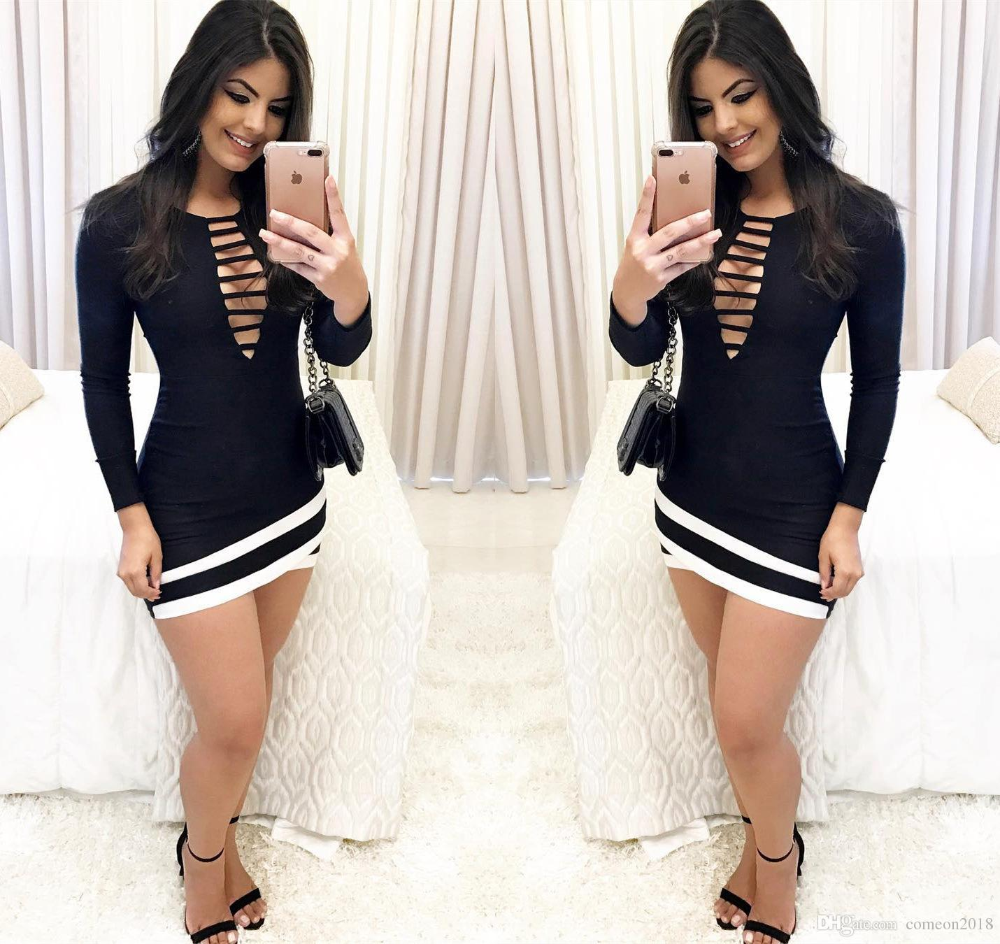 224214edd26 Sexy Night Club Black Patchwork Tight Dresses for Women Exposed Breast Long  Sleeve Hollow-out Europe Style Casual Dresses Night Club Dresses Sexy Tight  ...