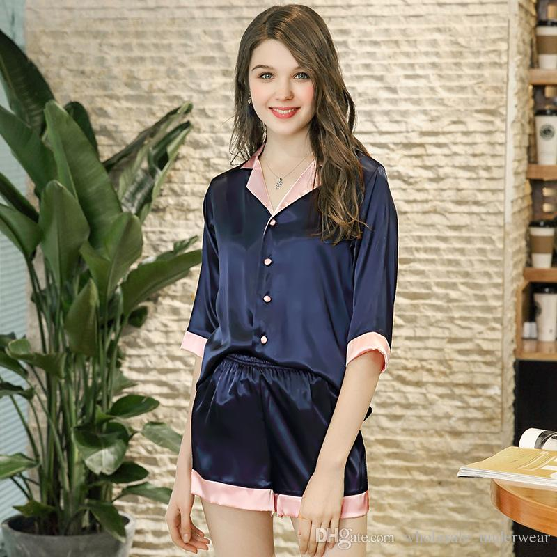 a1ac774cc3a6 Luxury Spring Solid Silk Pajamas Set Top+Shorts Cozy Women ...