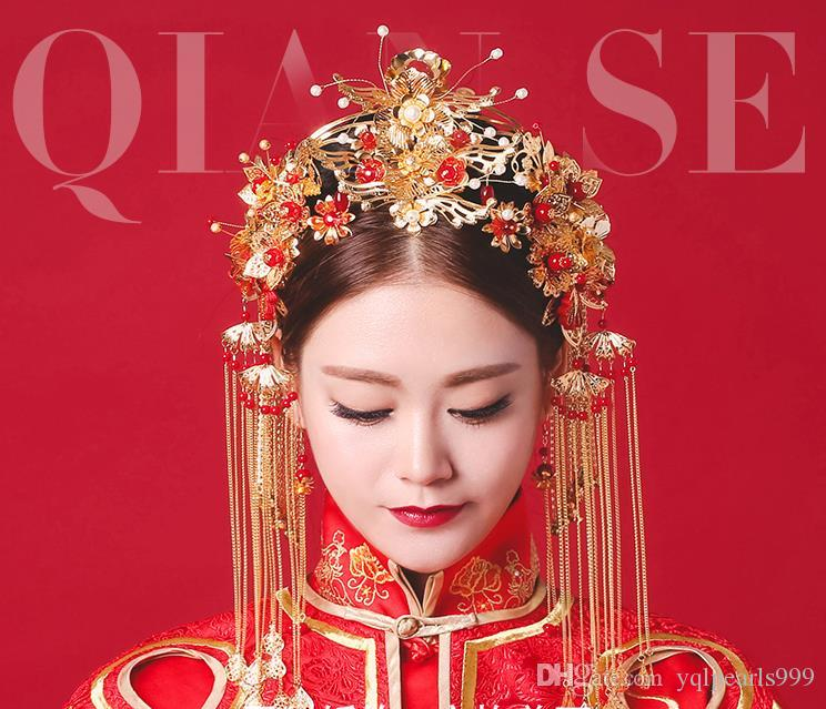 Bridal Headwear Chinese Style Wedding Dress Air Ornament Set Xiu