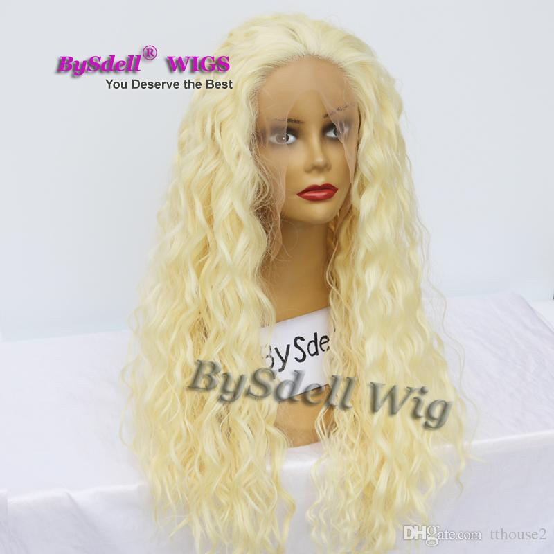 New Stylish Long Water Kinky Curly Blonde Hair Wig Synthetic Pastel Blonde 613# Color Lace Front Wigs for Black/ White Woman