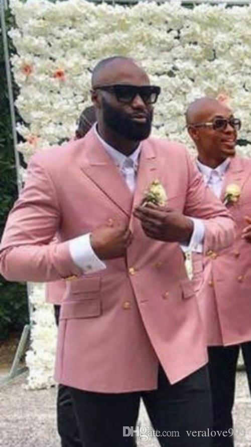 Şık Tasarım Damat Smokin Kruvaze Pembe Tepe Yaka Groomsmen İyi Adam Suit Erkekler Düğün Takımları Ceket + Pantolon