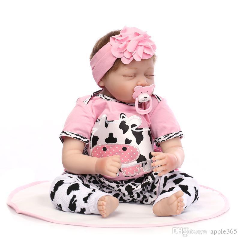 "55cm/22""Acrylic&soft Silicone Simulation LIFE LIKE cloth body Reborn Baby Doll Girl/cow clothes"