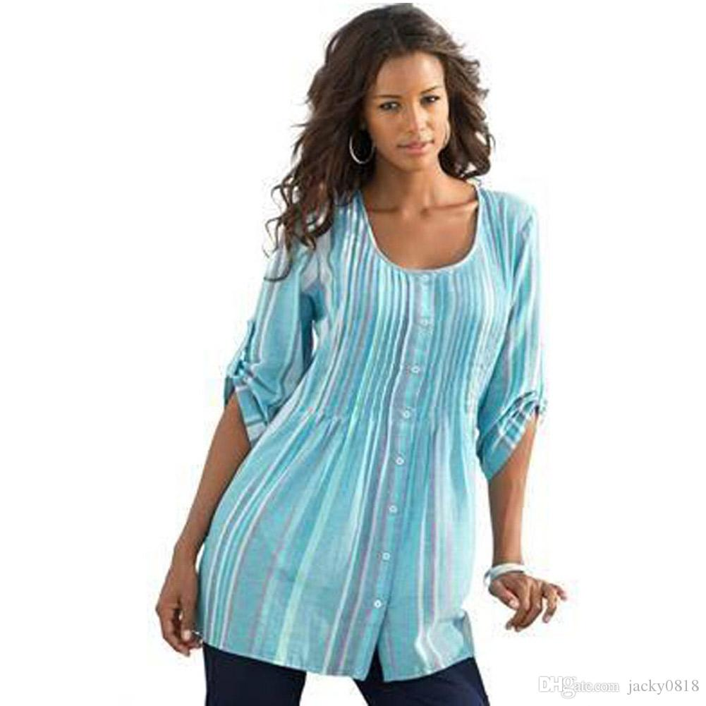 2019 Womens Tops And Blouses Plus Size Xxl Fall Rainbow Pleated