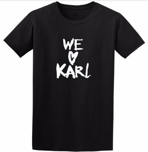 abfeb9b42f513 Casual Tshirts Crewneck WE LOVE KARL T Shirt Style Outfits Short ...