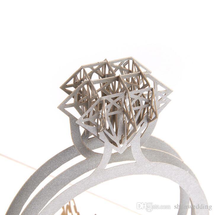 Gold Láser Cut Ring 3D Pop Up Invitaciones de la boda Romántico Hecho a mano para el día de San Valentín para el amante Tarjeta de regalo de felicitación de la postal