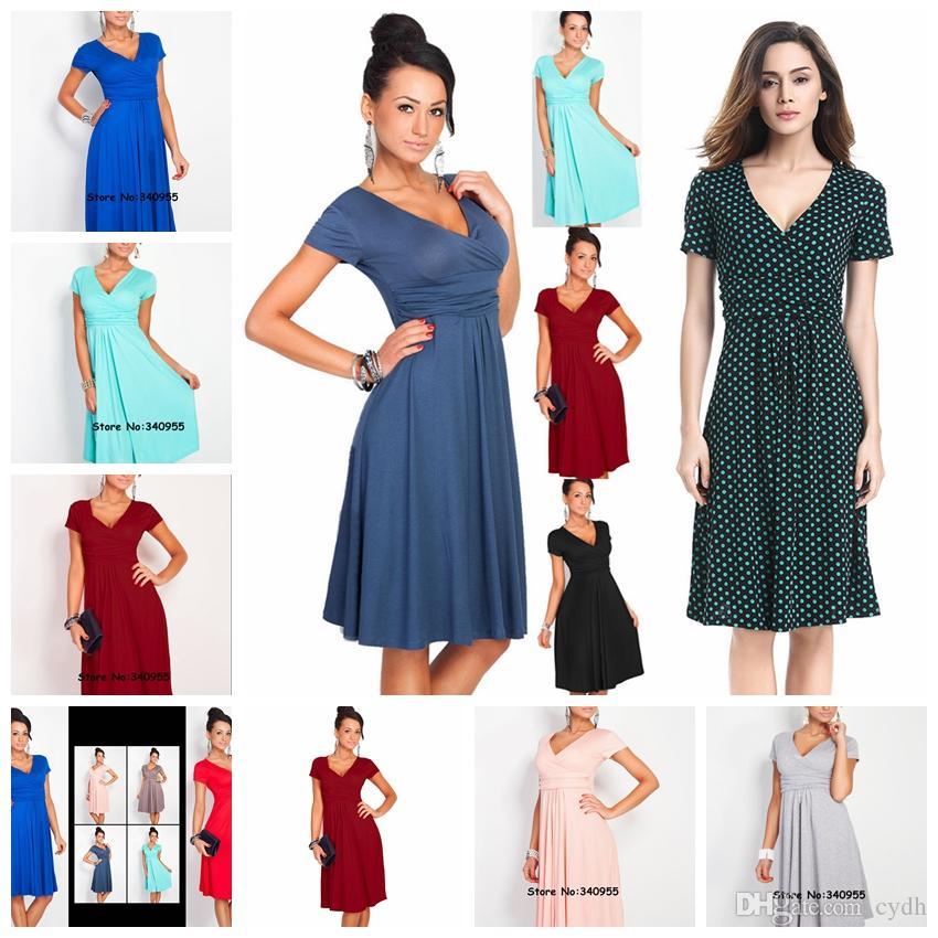f5a1b3d552f69 Satın Al Avrupa Moda Katı Renk Zarif Hedge V Yaka Kısa Kollu Yüksek Bel  Mizaç Profesyonel Elbise Desteği Karışık Toplu, $12.45 | DHgate.Com'da