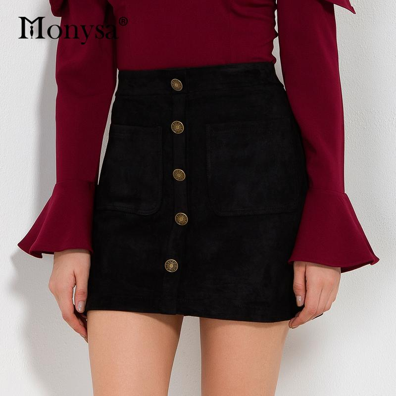 Black Pencil Skirts Women 2017 Autumn Winter New Fashion Buttons Suede Skirt  Women Casual Bodycon Skirts With Pockets Streetwear UK 2019 From Huoxiang 6d39b508b