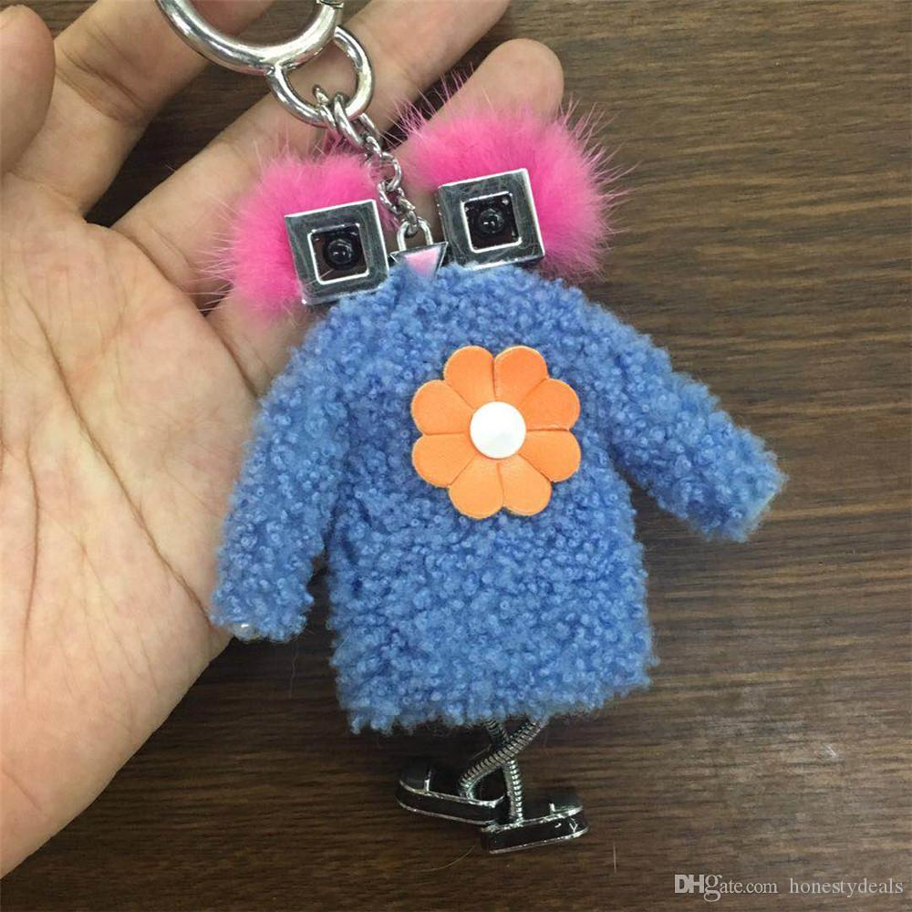 8ecd98d9242f Blue rose Cute 100% Genuine Real Fur Chick Bag Bug Charm Monster Fur ...