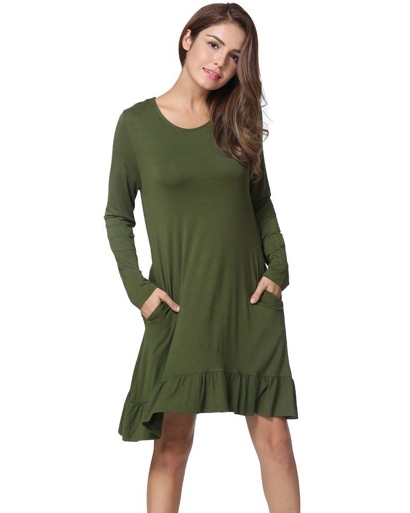 7aa0ed3b8bc 2019 Plus Size Women Clothing Autumn Fashion Mini Dress Solid Color Ruffle  Hem Round Neck Long Sleeve Pockets Casual One Piece Long And Short Dress  Sundress ...