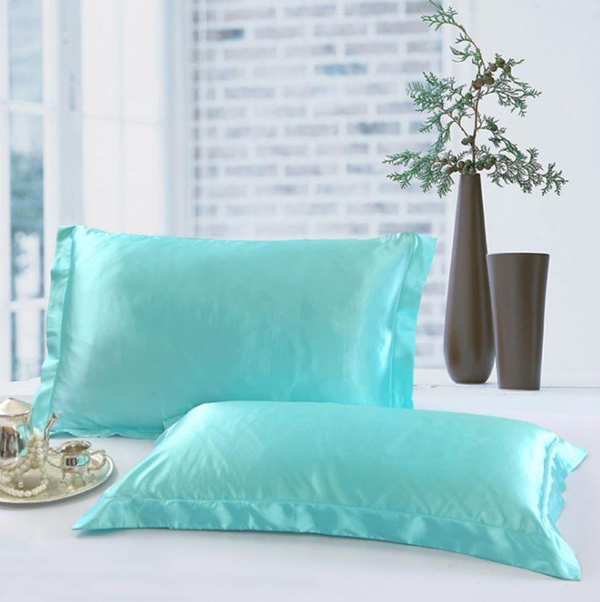 Katı Renk İpek Yastık kılıfı Çift Yüz Zarf Tasarımı Yastık Kılıfı Yüksek Kaliteli Charmeuse İpek Saten Yastık Kapak GGA100