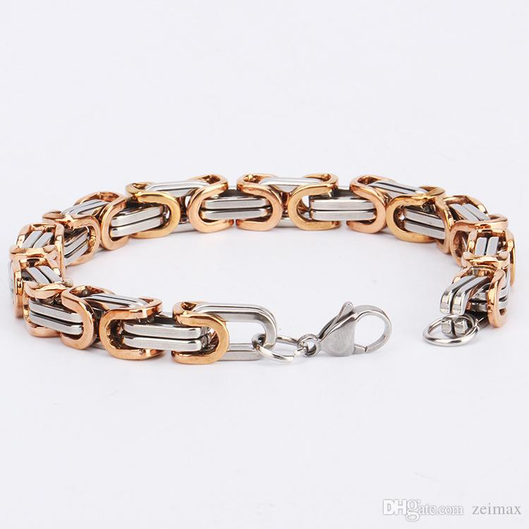 Fashion New Link Chain Stainless Steel Bracelet Men Heavy 8MM Wide Mens Bracelets 2018 Bicycle Chain Wristband