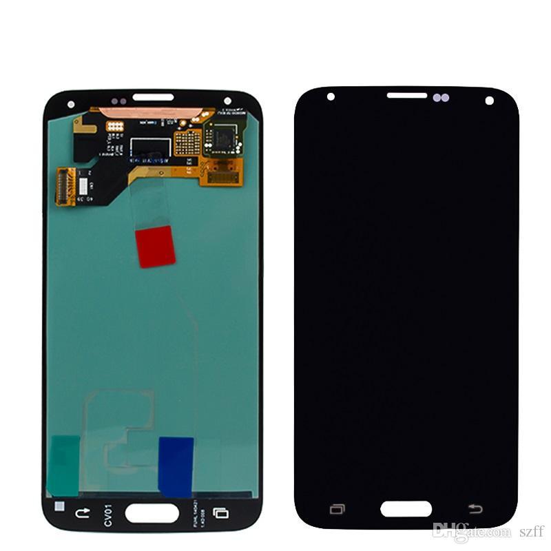 Pour Samsung Galaxy S5 i9600 G900F G900H G900M G900 Noir Blanc Écran LCD Écran Tactile Digitizer Remplacement Livraison Gratuite DHL