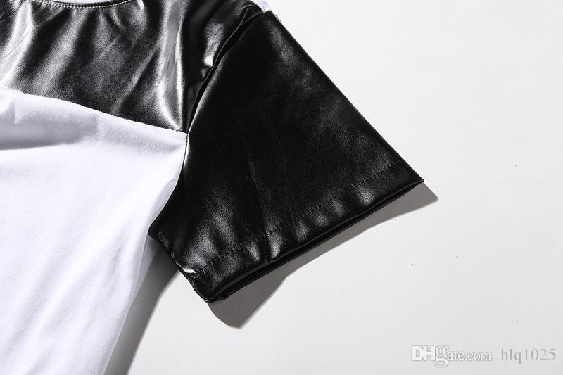 Fashion Summer Men PU Leather Splicing Short Sleeve Tee Shirt Homme Hip Hop Arc hem extended Men T-shirt