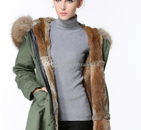 hot sale meifeng brand Khaki rabbit fur lining army green long parkas with brown raccoon fur hoody women warm coats